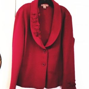 Marisa Christina Red Fitted Wool Sweater Jacket XL